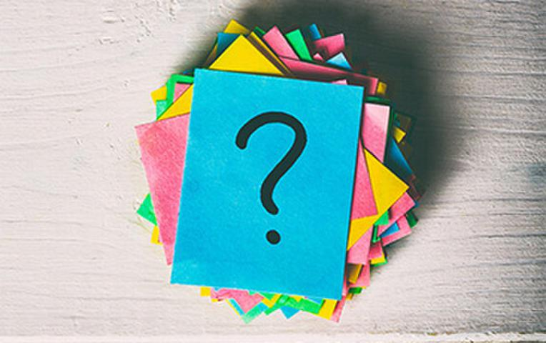 Sticky notes with question mark